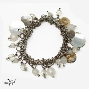Mother of Pearl & Crystal Beads Charm Bracelet
